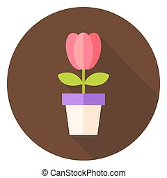 Spring Tulip Flower in the Pot Circle Icon