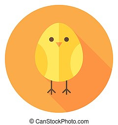 Yellow Chicken Circle Icon with long Shadow