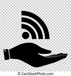 RSS sign. Flat style icon
