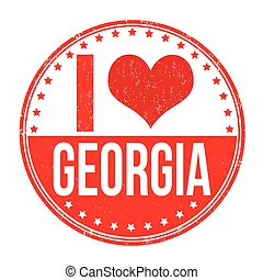 I love Georgia stamp - I love Georgia grunge rubber stamp on...