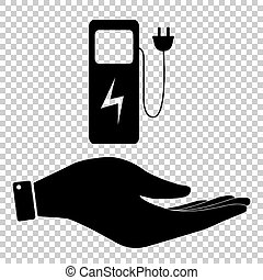 Electric car charging station sign. Save or protect symbol...