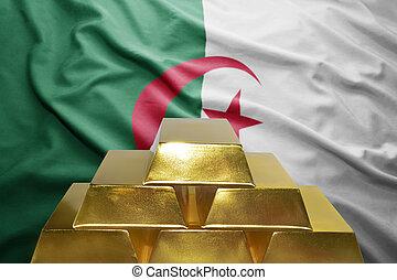 algerian gold reserves - shining golden bullions on the...