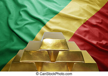 congolese gold reserves - shining golden bullions on the...