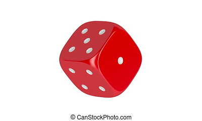 Red dice spin on white background