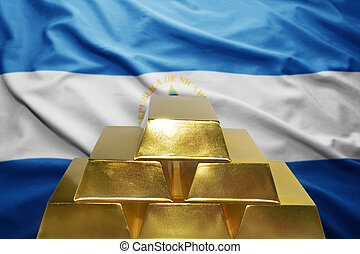 nicaraguan gold reserves - shining golden bullions on the...