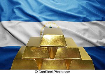 nicaraguan gold reserves - shining golden bullions on the...