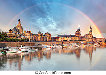 Dresden, Germany skyline with Elbe River