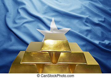 somalia gold reserves - shining golden bullions on the...