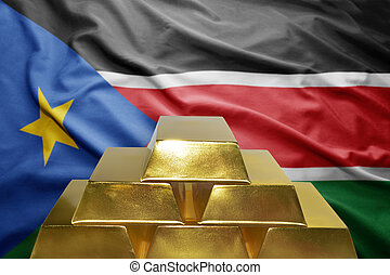 south sudan gold reserves - shining golden bullions on the...
