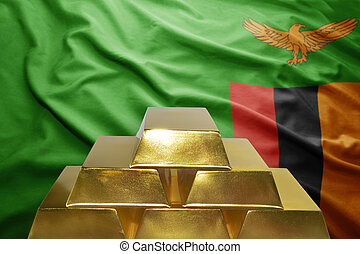 zambian gold reserves - shining golden bullions on the...