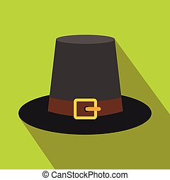 Gorgeous pilgrim hat flat icon with shadow on the background