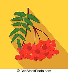 Branch of red rowan flat icon