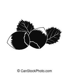 Hazelnut icon black - Hazelnut icon. Black simple style on...