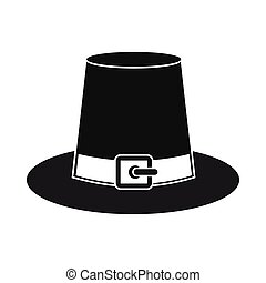Gorgeous pilgrim hat icon Black simple style