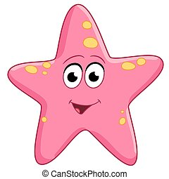 starfish is glad - spotted pink starfish is smiling