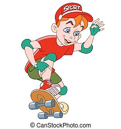 boy with skateboard - boy is ridding a skateboard