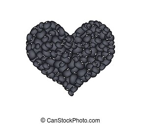 Black Bean Forming in A Heart Shape - Love Concept, Stack of...
