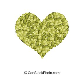 Mung Beans Forming in A Heart Shape - Love Concept, Stack of...