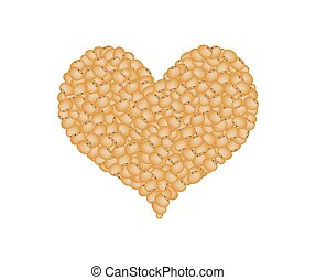 Soy Beans Forming in A Heart Shape - Love Concept, Stack of...