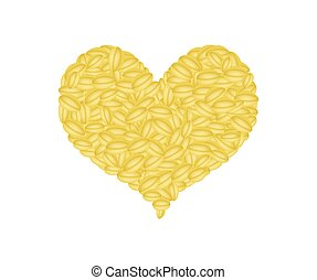 Split Peas Forming in A Heart Shape - Love Concept, Stack of...
