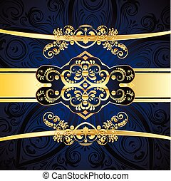 Blue Decorative Background - Vintage blue background with...