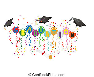 Graduation Ballons for celebration illustration - Balloons...