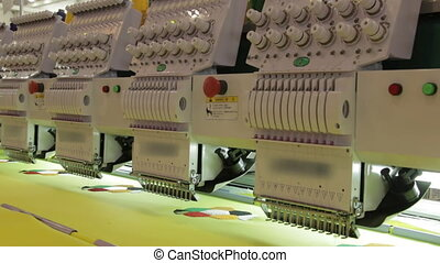 Automated Embroidery Thread Machine On Factory.