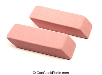 Two pink erasers - Photograph of two pink erasers...