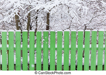 wooden green fence