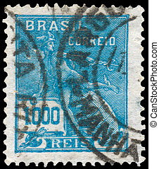 Stamp printed in the Brazil shows Mercury and Globe -...