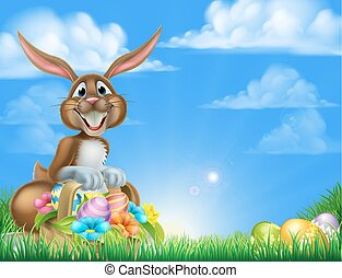 Cartoon Easter Egg Hunt Bunny