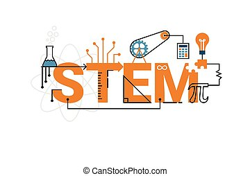STEM word typography design - Illustration of STEM education...