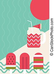 Fresh summer popsicle - Fresh summer theme with popsicle and...