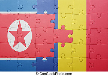 puzzle with the national flag of north korea and romania...