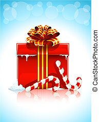 red box with christmas gift illustration