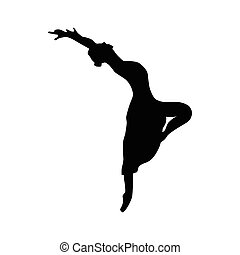Ballerina silhouette black icon isolated on white background