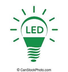 Shining LED bulb light icon, simple style - Shining LED bulb...