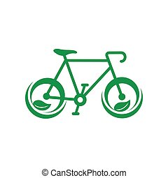 Green bicycle with leaves icon, simple style