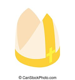 Papal tiara, hat with cross icon, isometric 3d - Papal...