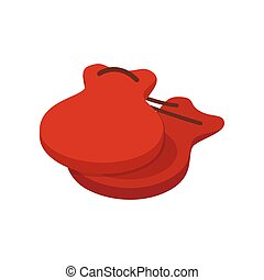 Spanish castanets icon, isometric 3d style - Spanish...
