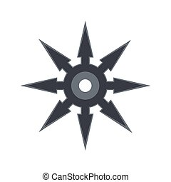 Shuriken flat icon isolated on white background