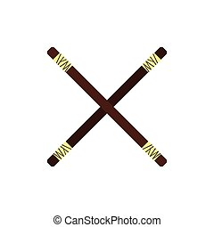 Wooden sword bokken flat icon isolated on white background