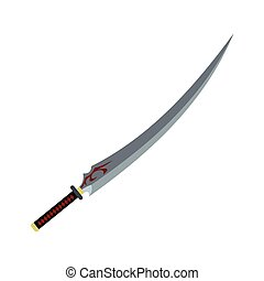 Japanese sword flat icon isolated on white background