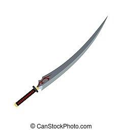 Japanese sword flat icon isolated on white background