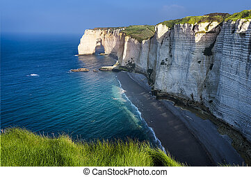 Etretat cliff France - Falaise dAmont cliff at Etretat,...
