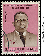 Stamp printed in Congo shows President Joseph Kasa-Vubu -...