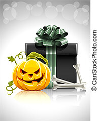 pumpkin head with bone and gift for halloween illustration