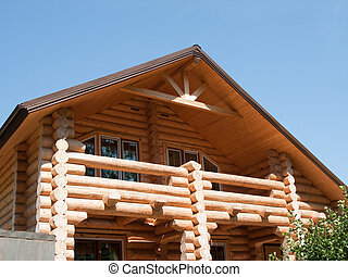 House log wall - Log house structure wood building home...
