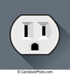 Socket - Electric socket (USA) in a flat design