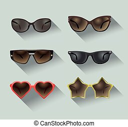 ladies sunglasses in a flat design, set of